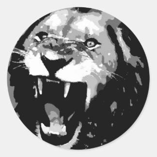 Black White Lion Round Sticker