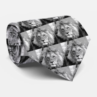 Black White Lion Tie