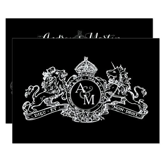 Black White Lion Unicorn Regal Emblem Wedding Card