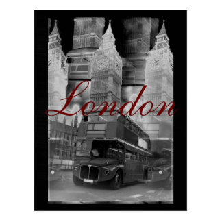 Black & White London Bus & Big Ben Postcard