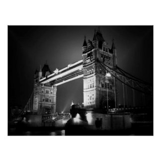 Black White London Tower Bridge at Night Poster