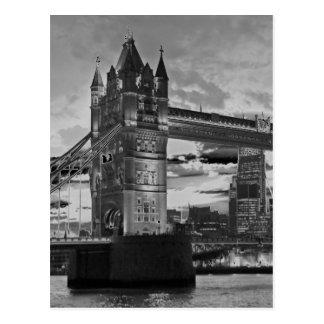 Black White London Tower Bridge British Travel Postcard