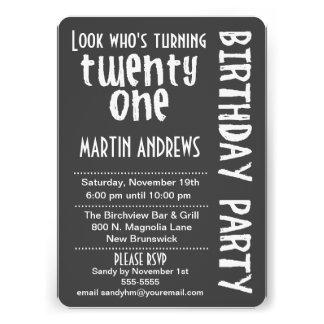 Black White Look Who s Turning 21 Birthday Invite