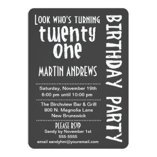 "Black/White Look Who's Turning 21 Birthday Invite 5"" X 7"" Invitation Card"
