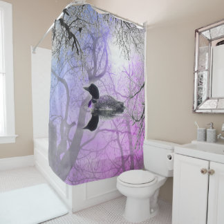 Black  white loon on a lake Shower Curtain purple