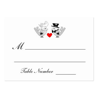 Black & White Love Birds Table Seating Cards Pack Of Chubby Business Cards