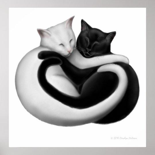 Black & White Love Cats Print
