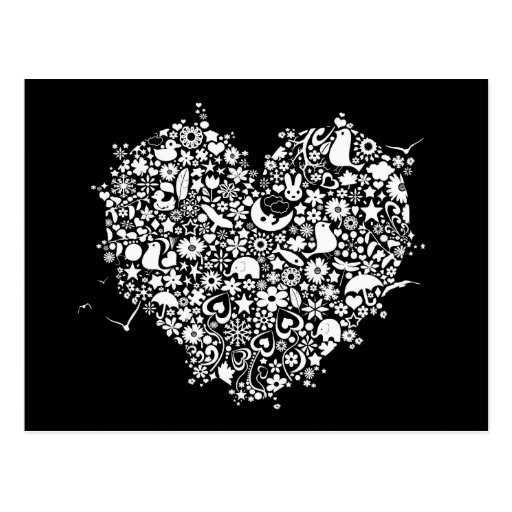 Black White Love Heart Shapes Postcard