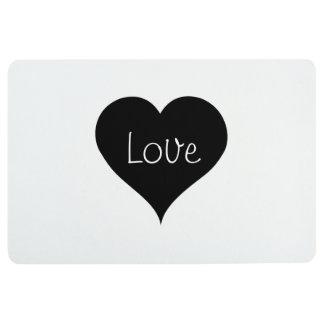 BLACK & WHITE LOVE HEART Text Print Floor Mat