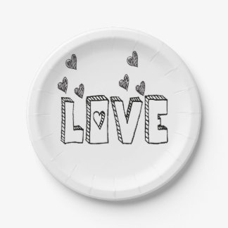 Black & White Love Hearts Wedding Party 7 Inch Paper Plate
