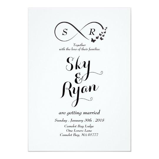 Black White Love Knot Initials Wedding Invitation