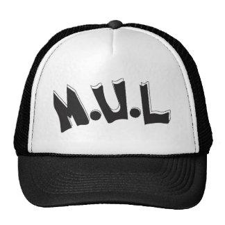 Black White M U L Logo Cap Mesh Hats