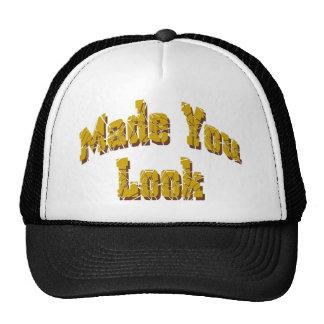 BLack White Made You Look logo cap Trucker Hats