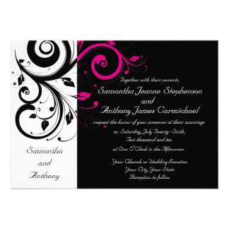 Black White Magenta Bold Swirl Wedding Invitations