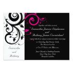 Black/White/Magenta Bold Swirl Wedding Invitations