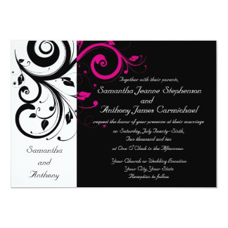 Black/White/Magenta Bold Swirl Wedding Invitations