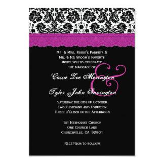 Black White Magenta Lace Flower Damask Wedding V06 13 Cm X 18 Cm Invitation Card