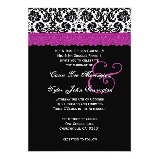 Black White Magenta Lace Flower Damask Wedding V06 Card