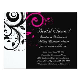 Black, White, Magenta Swirl Bridal Shower/ General 11 Cm X 14 Cm Invitation Card