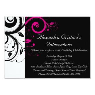 Black, White, Magenta Swirl Quinceañera 11 Cm X 16 Cm Invitation Card