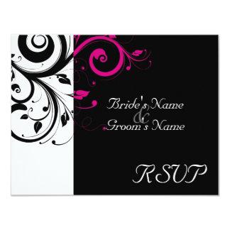 Black +White Magenta Swirl Wedding Matching RSVP 11 Cm X 14 Cm Invitation Card