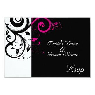 Black/White Magenta Swirl Wedding Small RSVP 9 Cm X 13 Cm Invitation Card