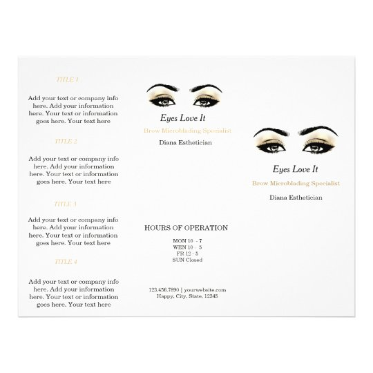 Black White Makeup Lashes Esthetician SPA Brochure
