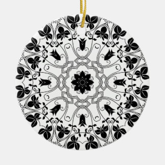 Black & White Mandala Mystical Christmas Ornament