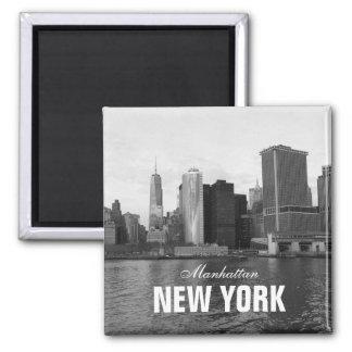 Black White Manhattan Skyline New York Square Magnet