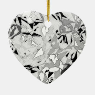 Black White Marble Abstract Ceramic Heart Decoration
