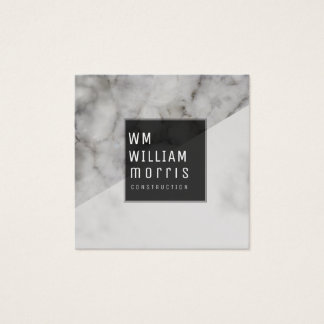 Black/White Marble Abstract Trendy Minimal Modern Square Business Card