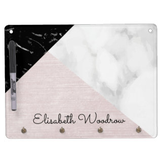 Black White Marble and Pink Silk Abstract Collage Dry Erase Board With Key Ring Holder