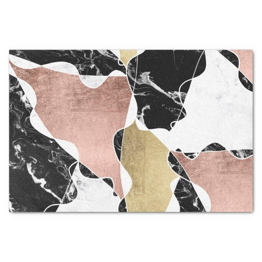 black white marble chic rose gold colour block