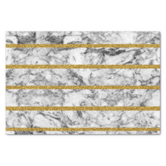 Black white marble gold glitter effect stripes tissue paper
