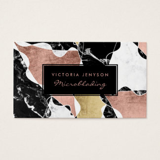Black white marble rose gold block Microblading Business Card