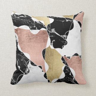 Black white marble rose gold color block geometric cushion