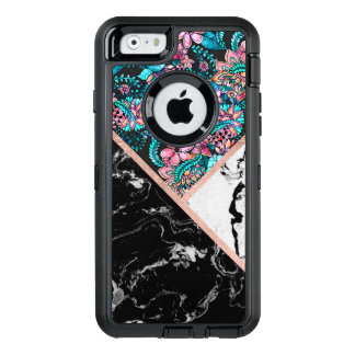 Black white marble rose gold floral color block OtterBox defender iPhone case
