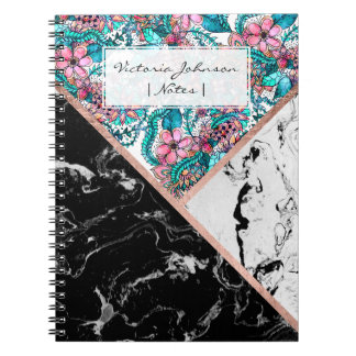 Black white marble rose gold floral colorblock notebook