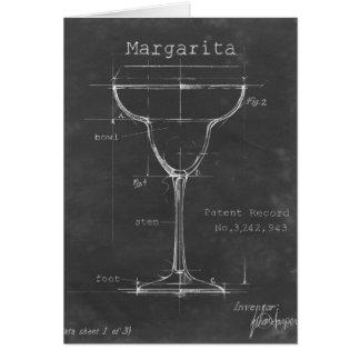 Black & White Margarita Glass Blueprint Card