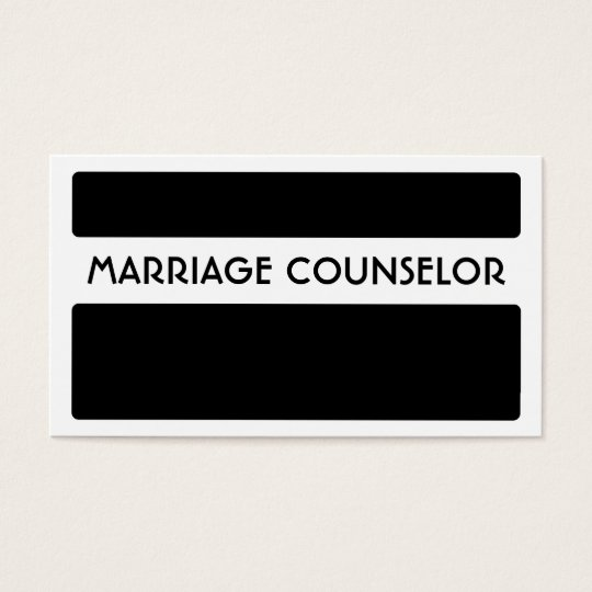 Black white marriage counsellor business cards