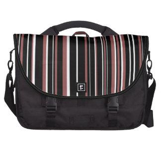 Black, White, Marsala Red Barcode Stripe Laptop Bag