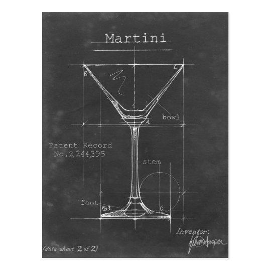 Black & White Martini Glass Blueprint Postcard