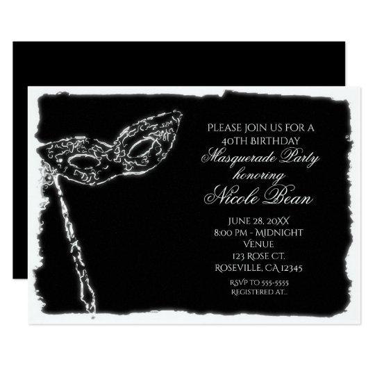 Black & White Masquerade Elegant Party Invitation