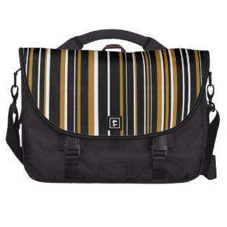 Black, White, Matte Gold Barcode Stripe Laptop Computer Bag