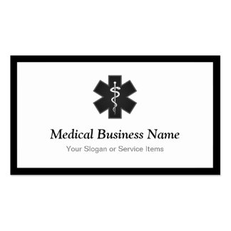 Black White Medical Symbol - Staff of Asclepius Pack Of Standard Business Cards