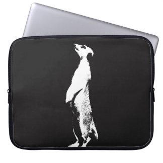 Black & White Meerkat - right - Laptop sleeve