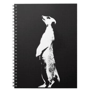 Black & White Meerkat - right - Notebook