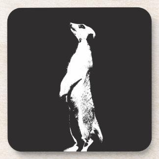 Black & White Meerkat - right - Plastic coasters