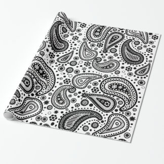 Black & White Mehendi Paisley Wrapping Paper