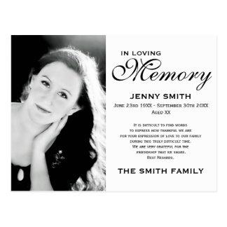 Black & White Memorial Family Acknowledgement Postcard